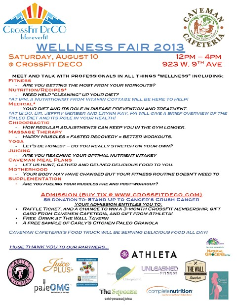 Want to learn about several ways to improve your overall health?  Join us and other health professionals at the CrossFit Deco Wellness Fair, August 10 12-4pm